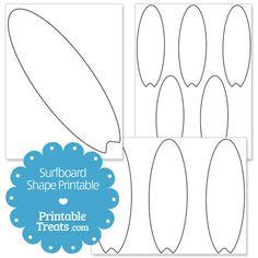 Printable Surfboard Shape Template from PrintableTreats.com
