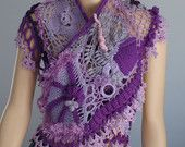 Lace  Freeform Crochet  Shawl / Wearable Art / OOAK. $195.00, via Etsy.