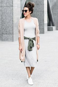 spring outfit, fall outfit, athleisure outfit, casual outfit, comfy outfit, fall layers, sneakers outfit, game day outfit - beige long cardigan, grey t-shirt dress, grey knit dress, military jacket, white sneakers, brown sunglasses