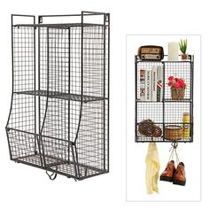 Ordered two to put side by side over the dresser for storage.  Wall Mounted / Collapsible Black Metal Wire Mesh Storage ...