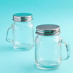 Perfectly Plain Collection Glass Mason Jars 4 oz jar with handle (technically mason jar mug) $1.45 to $0.79 depending on how many you order