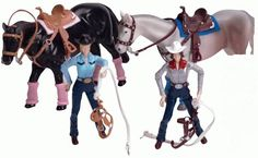 Rodeo Champions Action figure play sets for the barrel racer! Life like horses with flexible joints, realistic sheen and coloring. Comes with 1 rider and 1 horse. Available at Frontier Western Shop - www.westernshop.com