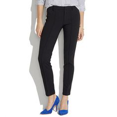 slim cigarette pants made edgy with a thick white tuxed stripe.  wardrobe essential.  Madewell - Skinny Tuxedo Trousers