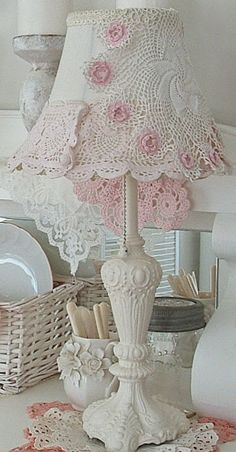 Romantique Inspirations Shabby Chic Pink And White Doily Lampshade