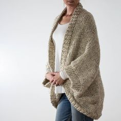 Knitting Pattern Over-sized Scoop Sweater Knit Cardigan image 1 Cocoon Cardigan, Shawl Cardigan, Sweater Knitting Patterns, Knit Patterns, Knit Purl Stitches, Lion Brand Wool Ease, Super Bulky Yarn, Creation Couture, How To Purl Knit