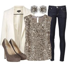 What to Wear? Denim and diamonds gala New Years Outfit, New Years Eve Outfits, Look Fashion, Fashion Outfits, Womens Fashion, Cheap Fashion, Curvy Fashion, Fashion Ideas, Fashion Beauty