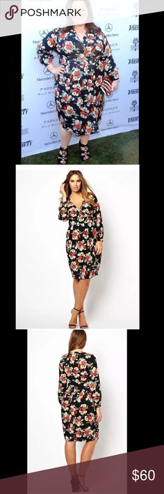 """ASOS Plus Size Floral Wrap Dress ASOS Plus Size Wrap Dress Floral Pattern   Women's Size 22 Nice pre Owned dress, In Excellent Shape! No Holes, Stains,Snags or Fading  Total Length:44.5"""" Sleeve Length:25"""" Underarm to Underarm:26.5""""      Item comes from a pet free/smoke free clean environment please contact me for any additional questions ASOS Curve Dresses Long Sleeve"""