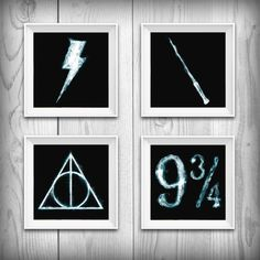 Harry Potter Printable set of 4, Platform 9 3/4, Deathly Hallows sign, Harry potter scar lightning bolt, Wand, Harry potter wall art gift
