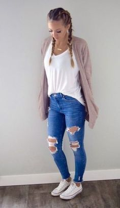 37 Ideas for a School Outfit for Teenage Girls in 2019 - . 37 School Outfit Ideas for Teenage Girls in 2019 - c l o t h e s - , 37 School Outfit Ideas for Teen Girl In Teenager Outfits, School Outfits For Teen Girls, Spring Outfits For School, Casual School Outfits, Cute Spring Outfits, Cute Teen Outfits, Teen Fashion Outfits, College Girls, Cute Outfit Ideas For School