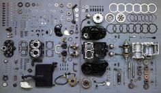Yamaha RD 350 LC engine stripped down and organised neatly!