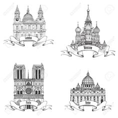 Illustration of Travel Europe vector set Famous european landmarks collection City symbols Paris Notre Dame Cathedral , London St Paul Cathedral , Rome St Peter Cathedral , Moscow St Basil Cathedral vector art, clipart and stock vectors. World Pictures, Travel Pictures, Rome, Travel The World Quotes, Travel Drawing, Travel Usa, Travel Europe, Travel With Kids, Symbols