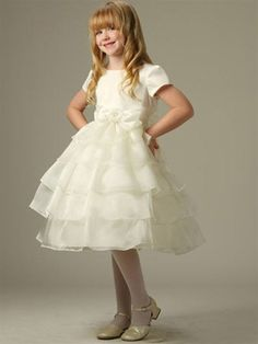 Satin Bodice with Sleeve and Shear Organza Teired Skirts - flower girl