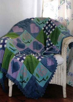 Patchwork quilt knitted using DK yarn Baby Car Seats, Knitwear, Quilts, Blanket, Children, Bed, Unique, Design, Scrappy Quilts