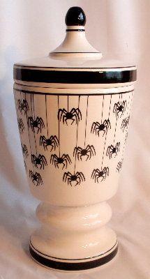Halloween Spiders Porcelain Cookie Jar