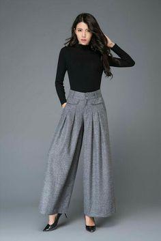 Gray wool pants, maxi wool pants, wide leg pants, womens pants, w Warm Pants, Grey Pants, Wide Leg Pants, Long Pants, Ankle Pants, White Pants, Summer Dresses For Women, Spring Dresses, Summer Skirts