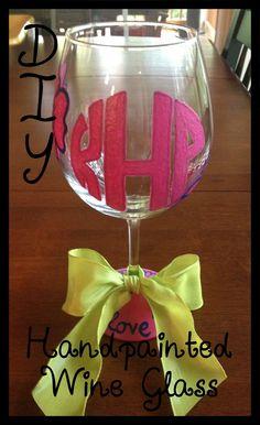 Monogramming/painting wine glasses