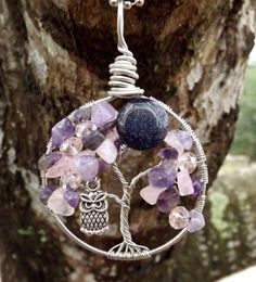 Tree of Life Pendant with Rose Quartz and Amethyst and Owl Charm with pink Swarovski Crystals and a Blue Goldstone Moon