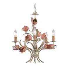 Crystorama Lighting Crystal Mini-Chandelier in Sage/rose Finish | 4805-SR | Destination Lighting