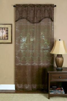 Dakota semi sheer curtain panel with an attached valance. Richly colored semi-sheer panel with attached pleated M-Valance.  #Rod #Pocket #Curtains