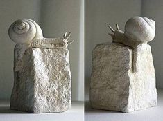 "Sculpture ""snail"" Skulptur ""Schnecke"" limited, numbered and signed, small edition, handmade. Made of synthetic dental plaster, height - Outdoor Statues, Garden Statues, Soapstone Carving, Sculpture Metal, Garden Sculpture, Crystal Garden, Sculptures Céramiques, Stone Painting, Ceramic Art"