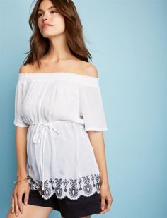 bb7aa171dc04df Smocked Off the Shoulder Maternity Top