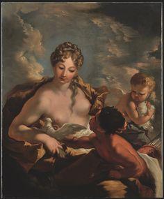 """Giovanni Antonio Pellegrini  (Venezia, 1675 - ivi, 1741)  """"Venere, Cupido e un fauno"""", olio su tela, cm 129x105.5  Per info: info@antichitagiglio.it"""