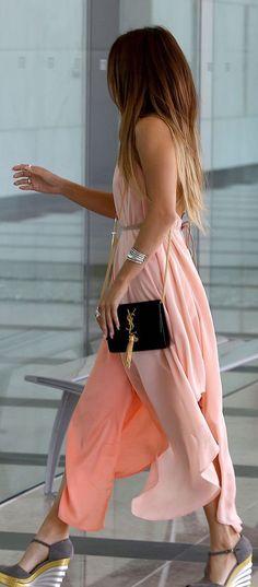 Blush maxi dress.