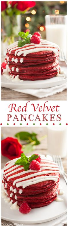 Red Velvet Pancakes with Cream Cheese Glaze - we have these for Christmas morning breakfast, they are AMAZING! (Delicious Red Velvet Pancakes make breakfast much better! Yummy Treats, Sweet Treats, Yummy Food, Healthy Food, Red Velvet Pancakes, Velvet Cupcakes, Velvet Cake, Breakfast Desayunos, Breakfast Recipes