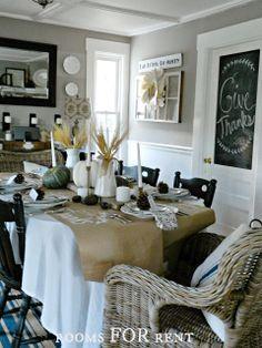 ~rooms FOR rent~: A Thankful Themed Thanksgiving Tablescape Thanksgiving Tablescapes, Thanksgiving Decorations, Seasonal Decor, Fall Decor, Thanksgiving Menu, Dinning Table, Dining Room, Rooms For Rent, Beach House Decor