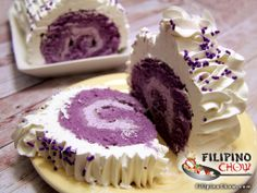 Ube Roll Cake is one of the most popular cakes in the Philippines. - Robie Hoffman - Ube Roll Cake is one of the most popular cakes in the Philippines. Ube Roll Cake is one of the most popular cakes in the Philippines. Philipinische Desserts, Filipino Desserts, Asian Desserts, Filipino Recipes, Delicious Desserts, Dessert Recipes, Filipino Food, Asian Recipes, Ube Roll Cake Recipe