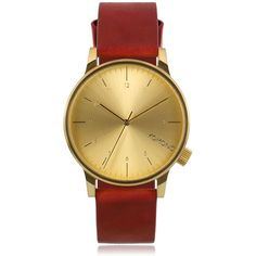 TOPMAN Komono Winston Regal Red Leather Watch ($100) ❤ liked on Polyvore featuring men's fashion, men's jewelry, men's watches, gold, mens leather watches and mens red watches