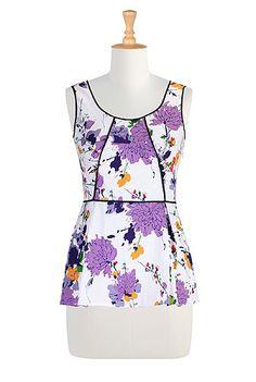 I <3 this Piped trim floral splash top from eShakti #eShaktiSummer