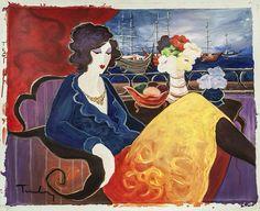 "Itzchak Tarkay ""Afternoon at The Marina"" Acrylic on Canvas size: 30"" x 24""."