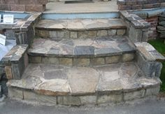 Stone stairs garden porch steps 29 ideas for 2019 Patio Steps, Outdoor Steps, Garden Steps, Garden Paths, Porch Stairs, Front Stairs, Entry Stairs, House Stairs, Front Porch Steps