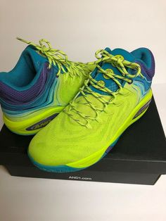 buy popular 37e45 a1298 AND1 Mens Attack Low LE 2018 Basketball Shoes Purple Teal Lime Green Size 13