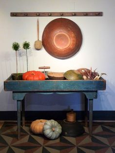 ~ Ca. 18th and Early 19th c. New England Painted Bowls of Various Sizes ~ Rare New England Early 19th c. Zinc Lined Sink ~ Early Choppers ~ Wonderful Early New England Peg Board with Hand Turned Pegs ~ Unusual Utilitarian Duster. ~♥~