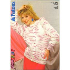 304f78afee5a7a Knitting Pattern -Patons 3007- Teen Lady s Button Through Ribbed Cardigan 30 -40