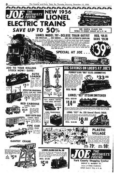 Lionel Trains - Lionel trains for Christmas 1956 Hobby Trains, Old Trains, Hobby Shops Near Me, Train Posters, Popular Hobbies, Electric Train, Model Train Layouts, Old Ads, Model Trains