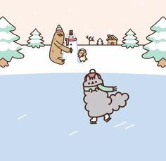 Stormy skating Pusheen Love, Pusheen Cat, Pusheen Christmas, Pusheen Stormy, Cute Kawaii Animals, Kawaii Wallpaper, Cute Characters, Journal Cards, Cute Drawings