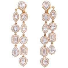 Preowned Double Strand Diamond And White Sapphire Rose Gold Drop... ($9,600) ❤ liked on Polyvore featuring jewelry, earrings, chandelier earrings, white, white diamond earrings, round diamond earrings, white chandelier earrings, diamond drop earrings and diamond earrings