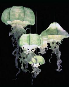 qualle papierlampen grün pendelleuchten schick http://freshideen.com/lampen/papierleuchten-kaufen-oder-selber-machen.html