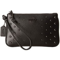 COACH Ombre Rivets Small Wristlet (DK/Black) Wristlet Handbags ($85) ❤ liked on Polyvore featuring bags, handbags and clutches