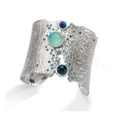 Oceania Cuff ~ sterling silver, blue tourmaline, blue green opal, emerald and gem silica, flush set parabia tourmaline, aquamarine, green sapphires and white diamonds