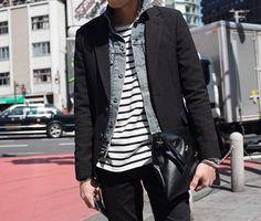 *stripes, denim jacket, blazer, black