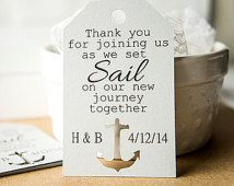 Set Sail on Our New Journey, Anchor Cut Out Tags, Wedding Favor Tags, Customized Tags