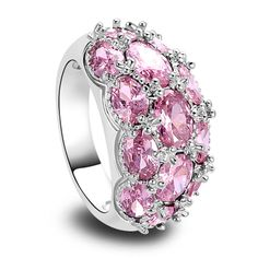delicate Jewelry Pink Created Topaz 925 Silver Ring Size 7 8 9 10 Romantic Oval Cut Gift For Women Wholesale