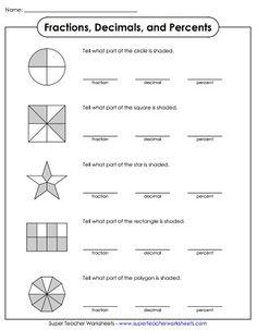 Grade 3 Fractions & decimals Worksheet identifying ...