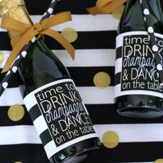 It's time to drink champagne and dance on the table ... printable bottle labels are perfect to use as champagne party favors!