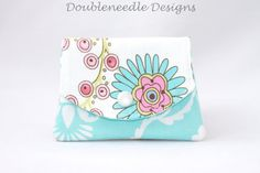 3 Pocket Small Floral Wallet  Modern Foral   by doubleneedledesigns