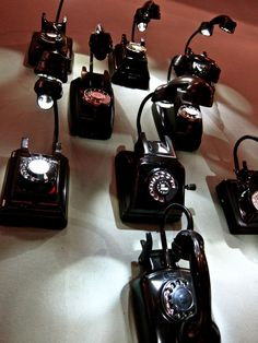 vintage phones reworked into table lamps